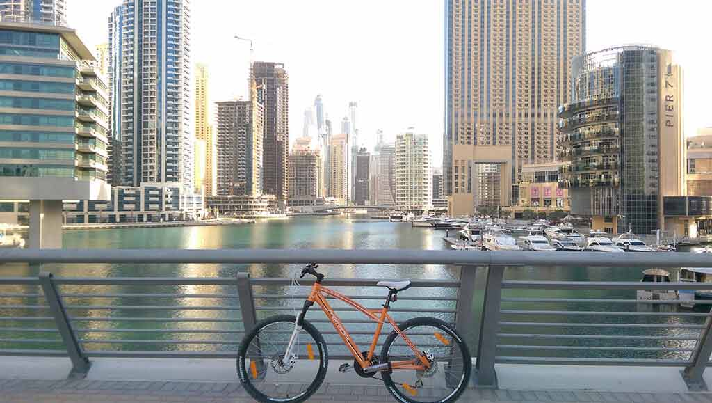 bicycle ride in Dubai Marina