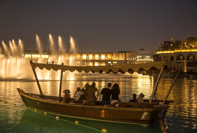 Dubai Musical Fountain on a lake ride