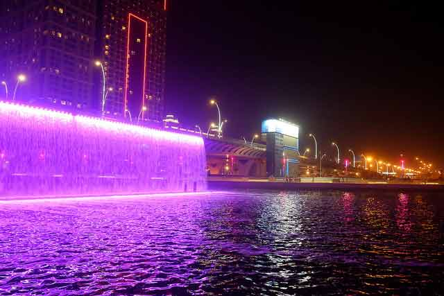 Dubai water canal waterfall view