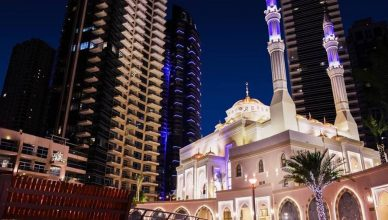 Masjid Al Rahim Night view In Dubai Marina