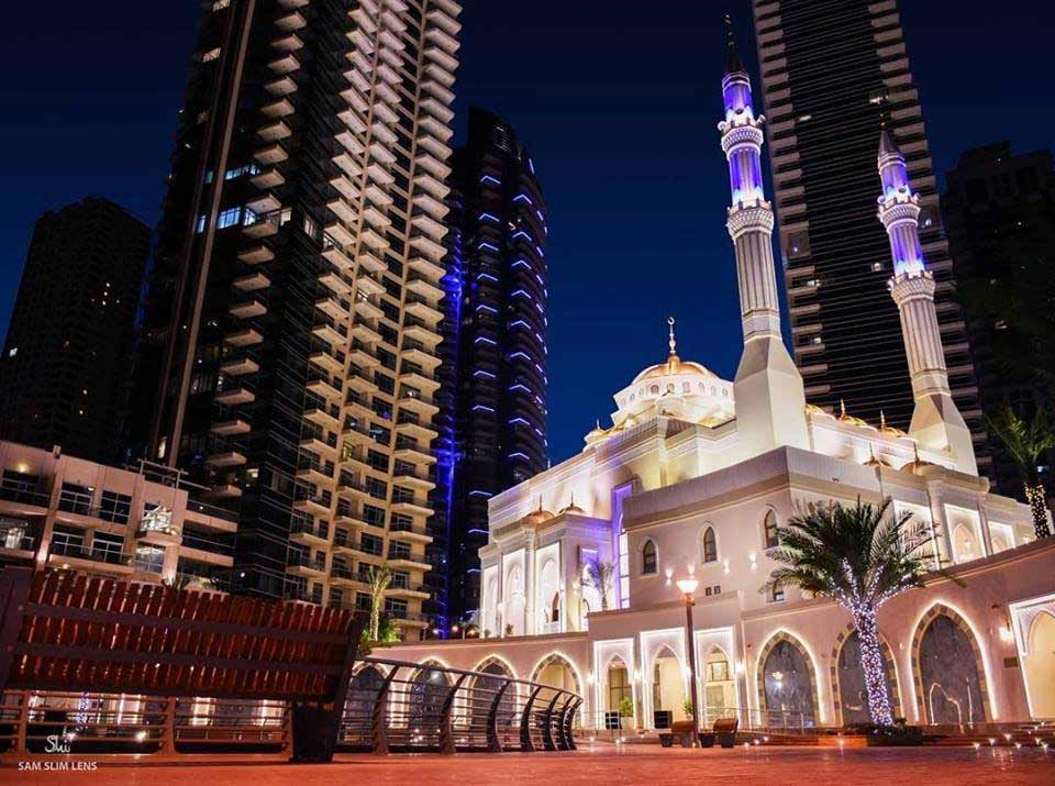 Masjid Al Rahim Night view In Dubai Marina