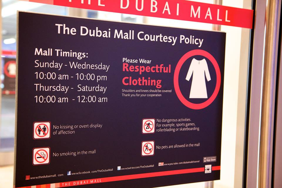 Dress code in Dubai Malls and Markets images and photos