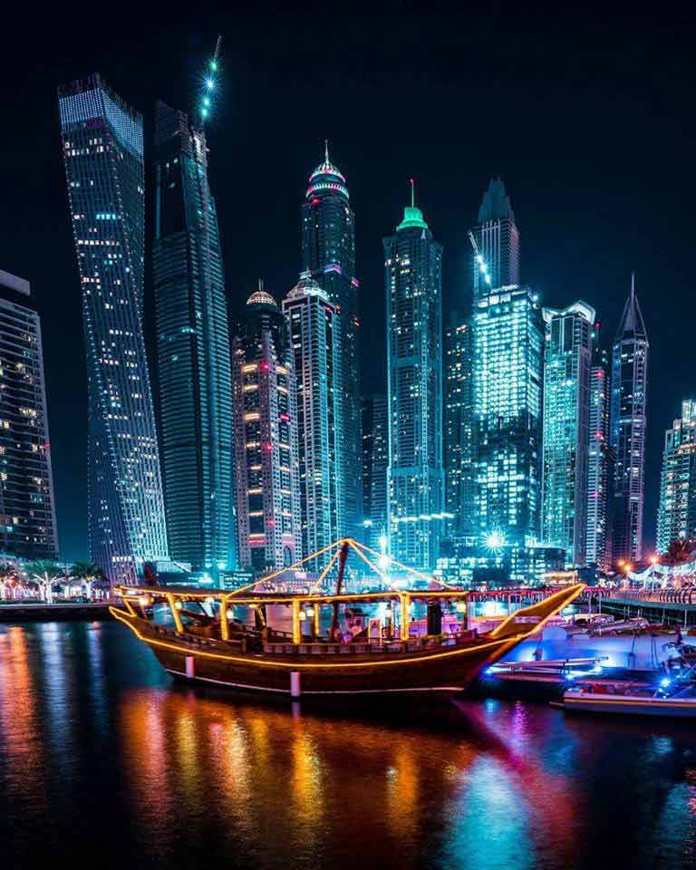 Dubai night life pictures Of Dhow Cruise Marina Dinner