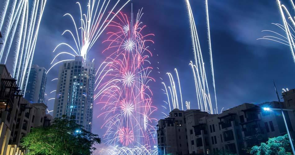 City Walk Fire Work during Dubai new year