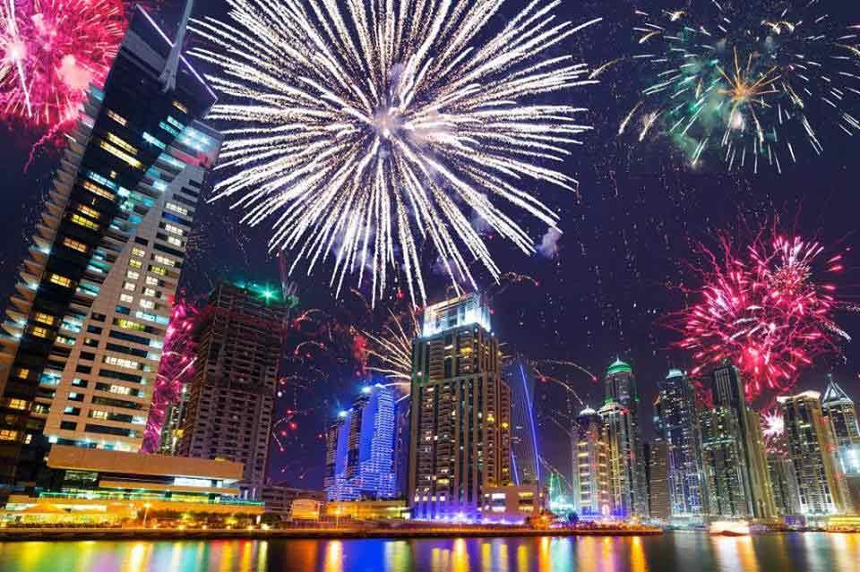 JBR new year fire works celebration