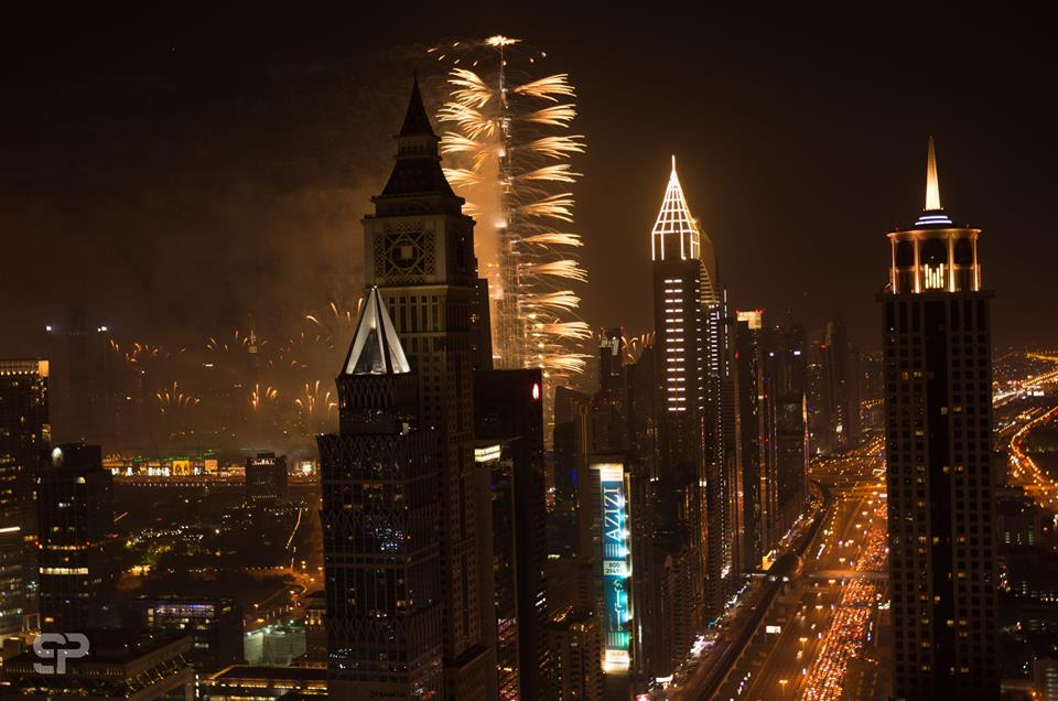 Sheikh Zayed Road fireworks in dubai