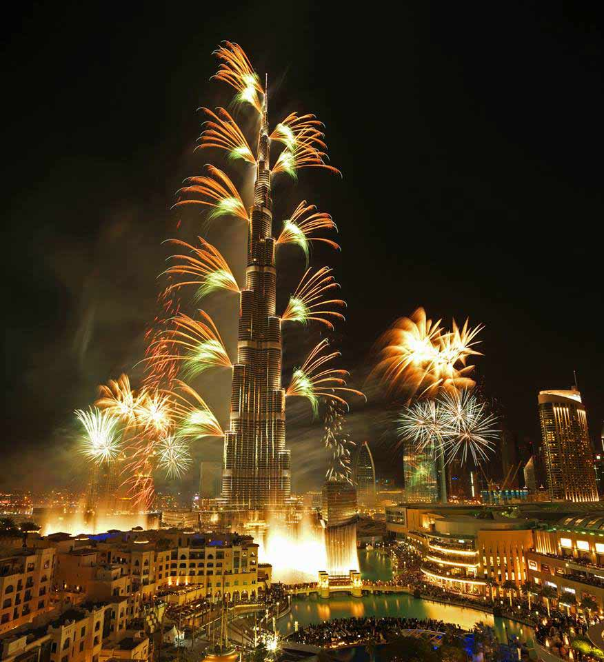 View of Burj khalifa From Souk al bahar during new year