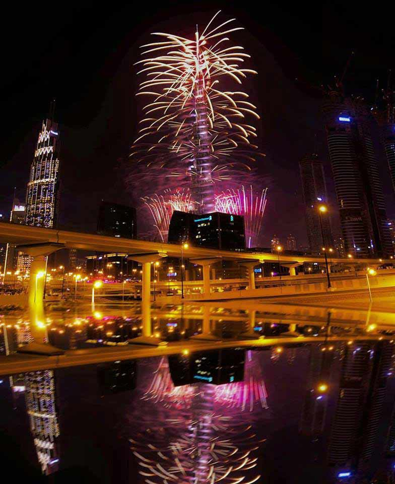 new year fireworks from Dubai water canal
