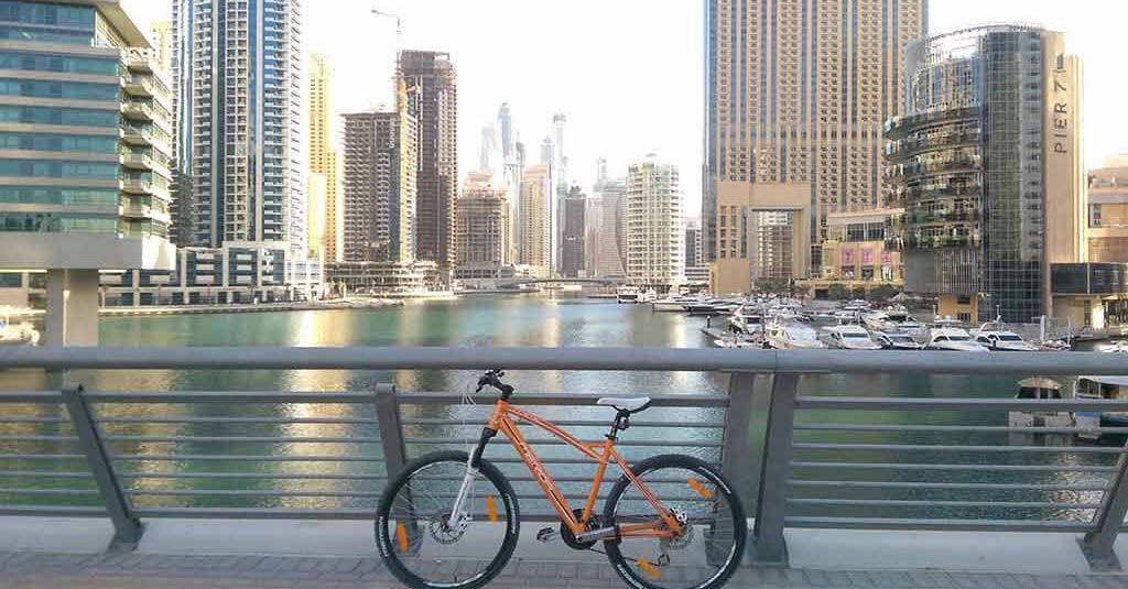 bicycle ride in Dubai Marina