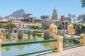 Cape Town, South Africa - Moat of the Castle of Good Hope with the central business district and Lions Head in the back-min