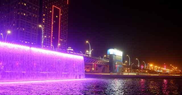 Dubai water canal waterfall view