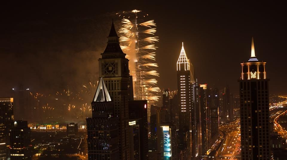 Sheikh Zayed Road fireworks in dubai
